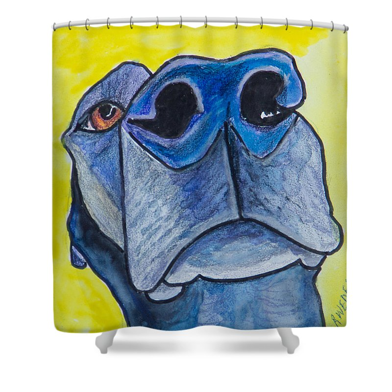 Labrador Retriever Shower Curtain featuring the painting Black Lab Nose by Roger Wedegis