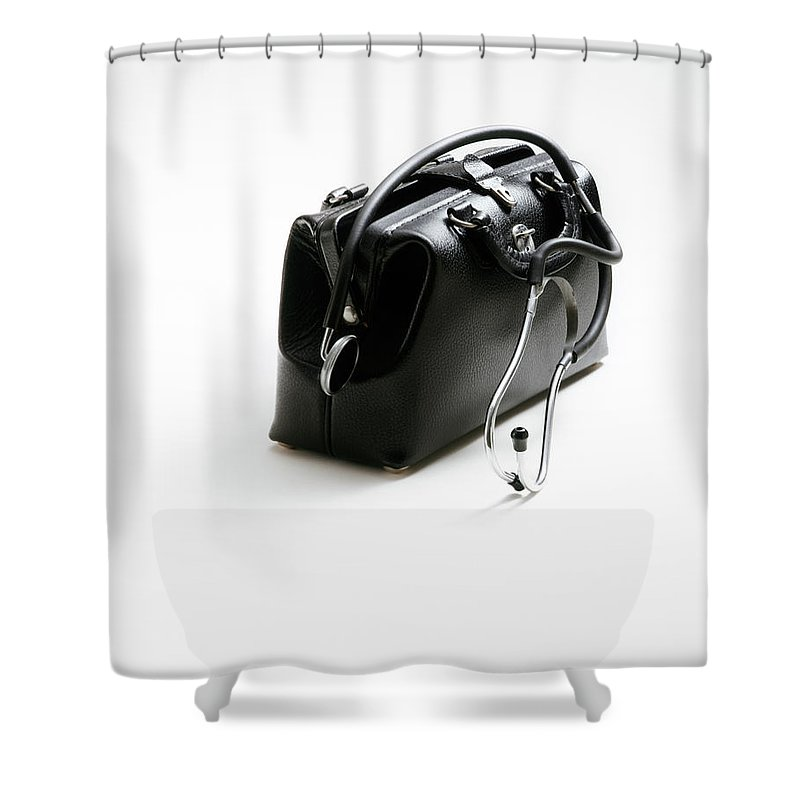Photography Shower Curtain Featuring The Photograph Black Leather Doctors Doctor Bag White By Vintage Images