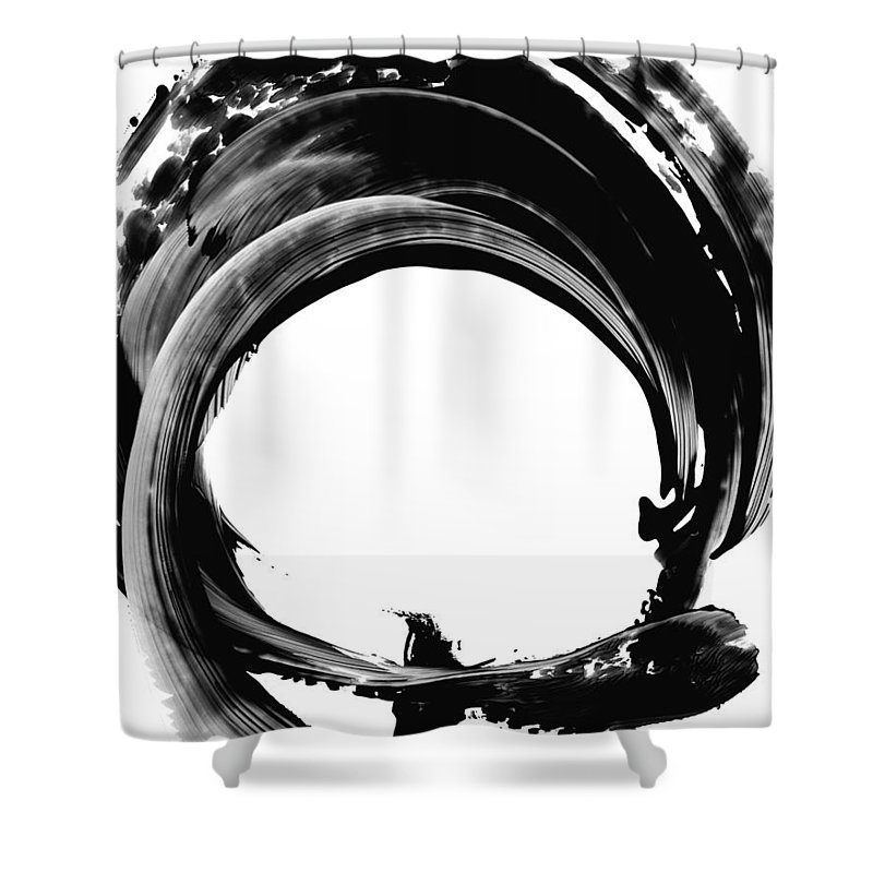Abstract Shower Curtain featuring the painting Black Magic 304 By Sharon Cummings by Sharon Cummings