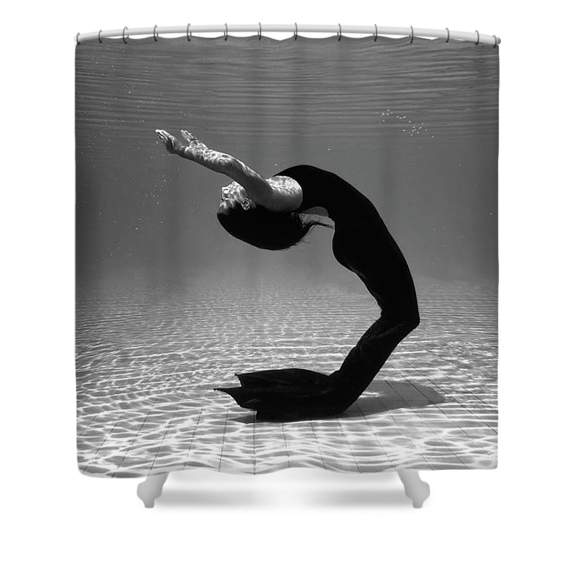 Underwater Shower Curtain featuring the photograph Black Mermaid by Microgen