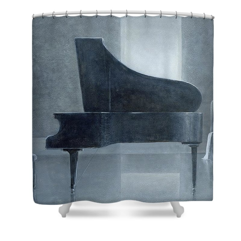 Music; Musical; Instrument; Grand; Interior; Open Lid; Piano Shower Curtain featuring the painting Black Piano 2004 by Lincoln Seligman