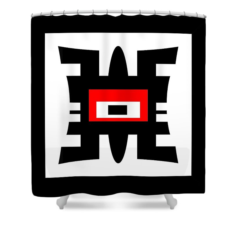 Abstract Shower Curtain featuring the photograph Black Red And White Abstract 0102 by Linda Koelbel