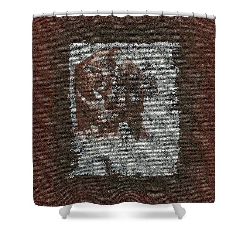 Black Rhino Shower Curtain featuring the painting Black Rhino by Konni Jensen