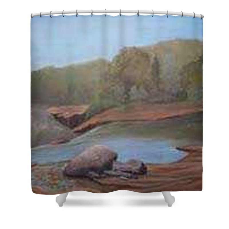 Rick Huotari Shower Curtain featuring the painting Black River Falls by Rick Huotari