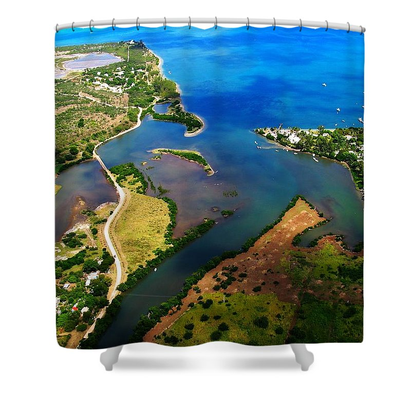 Mauritius Shower Curtain featuring the photograph Black River Mouth 3 by Ron Holl