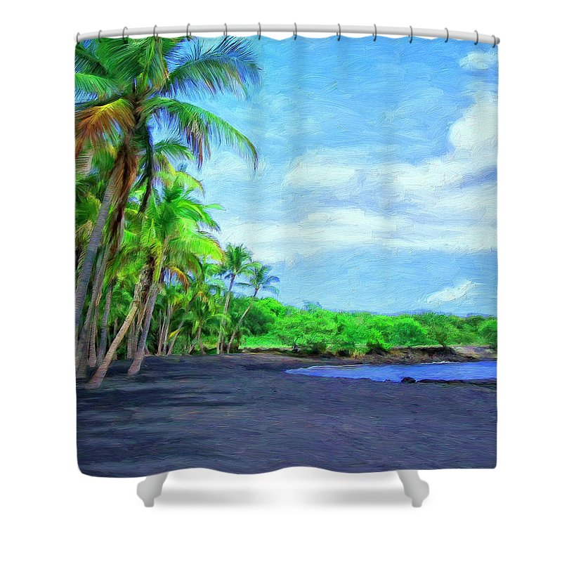 Black Sand Beach Shower Curtain featuring the painting Black Sand Beach At Punaluu by Dominic Piperata