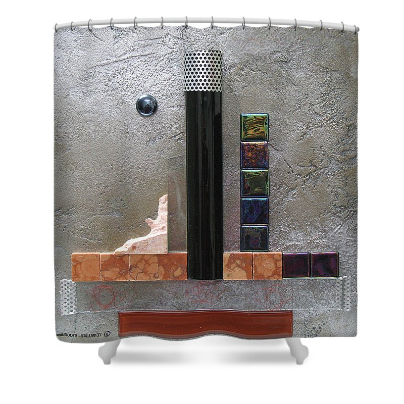 Assemblage Shower Curtain featuring the relief Black Tower by Elaine Booth-Kallweit