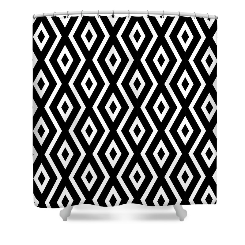 Black And White Shower Curtain featuring the mixed media Black and White Pattern by Christina Rollo