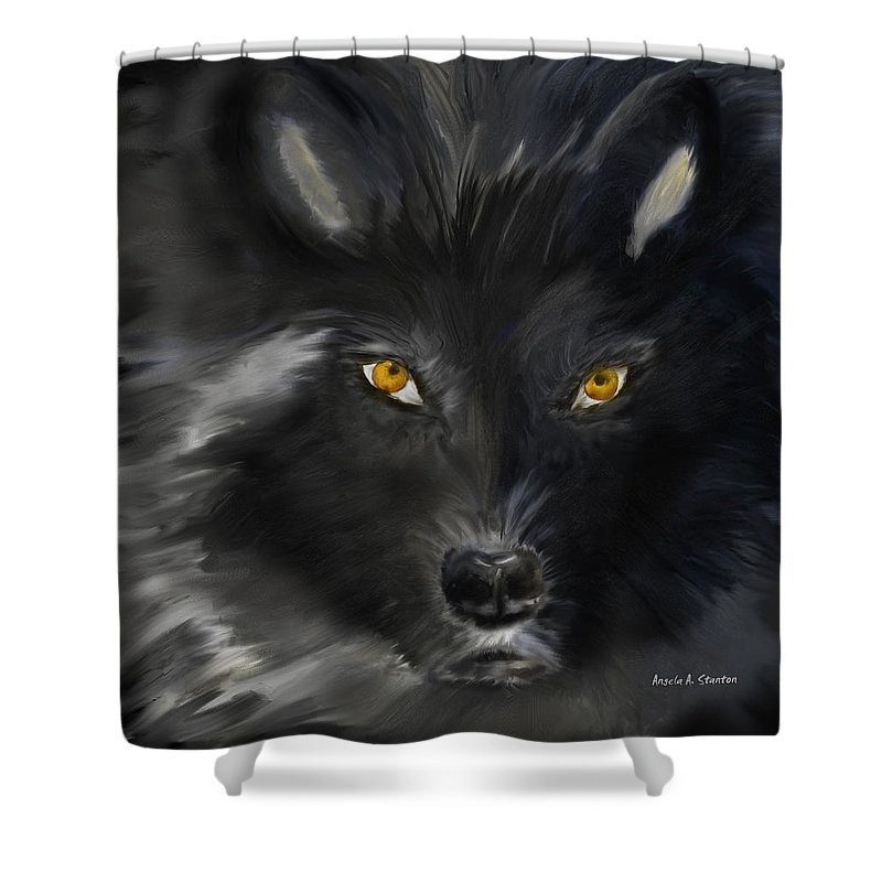 Black Wolf With Yellow Eyes Shower Curtain for Sale by Angela Stanton