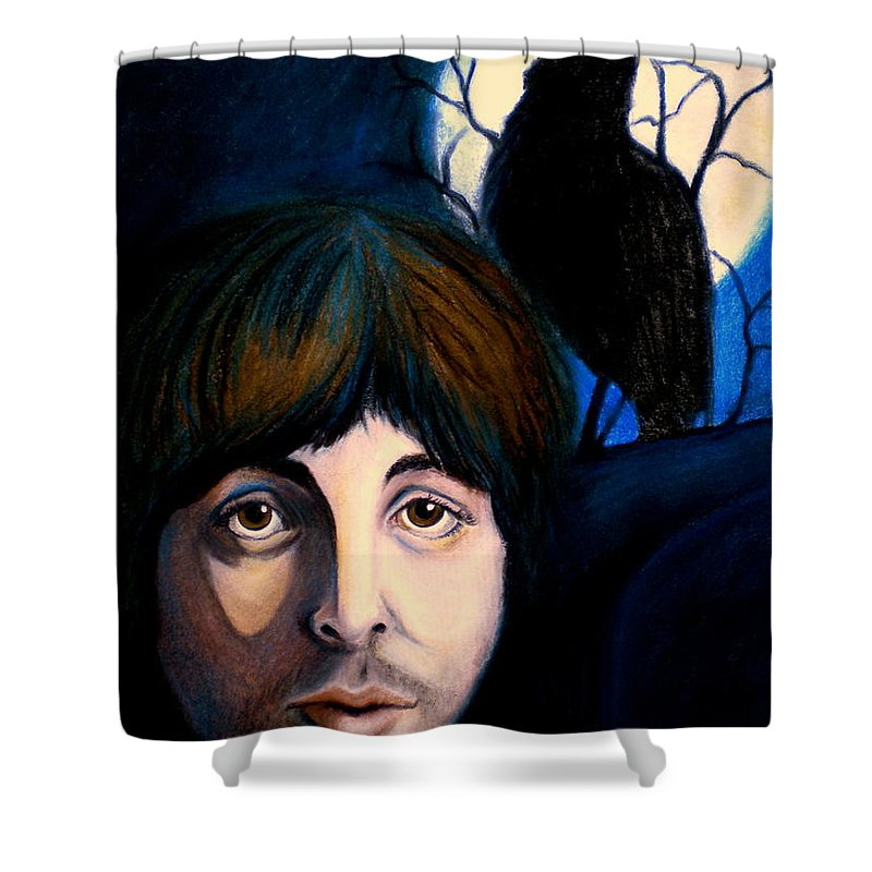 Paul Mccartney Shower Curtain featuring the painting Blackbird by Debi Starr