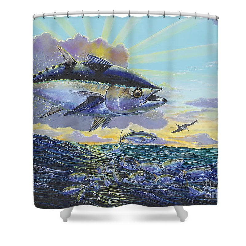 Blackfin Tuna Shower Curtain featuring the painting Blackfin Bust Off00116 by Carey Chen