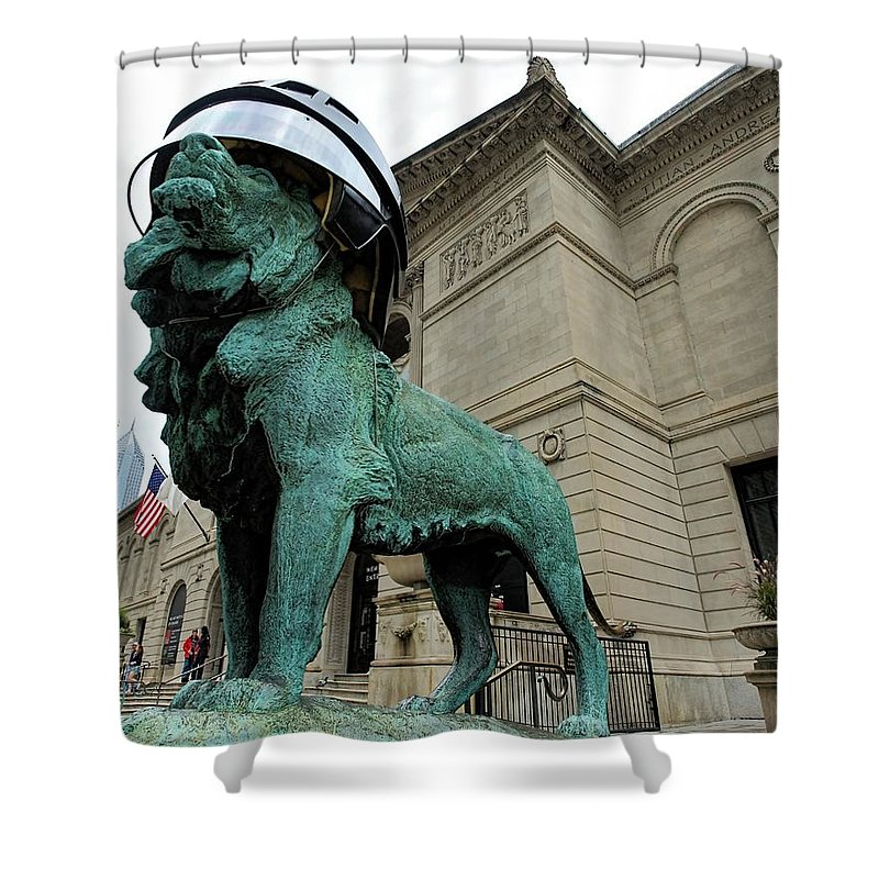 Chicago Shower Curtain featuring the photograph Blackhawks Lion by Jenny Hudson