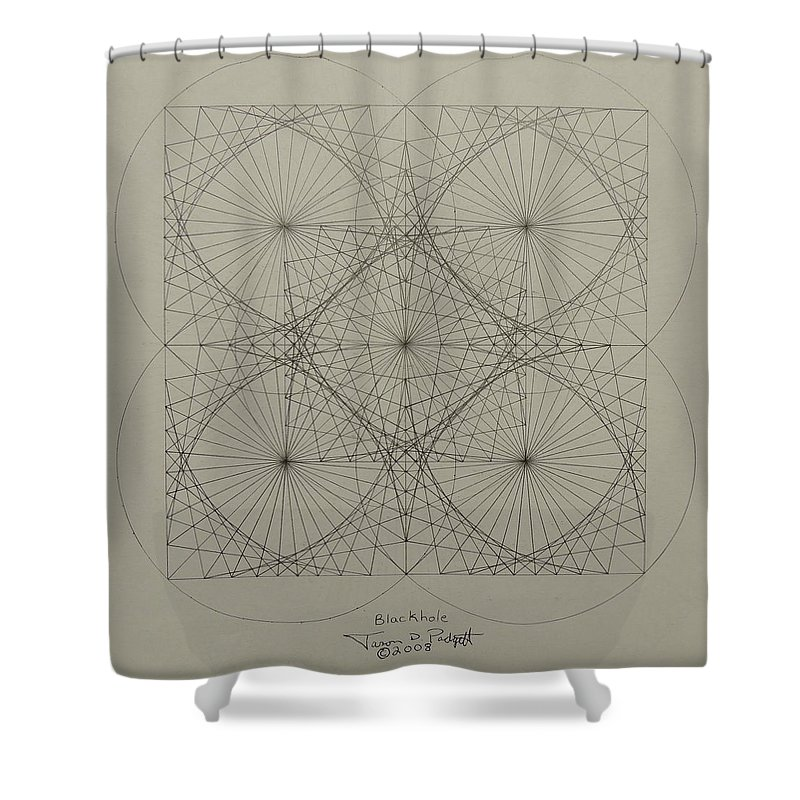 Fractals Shower Curtain featuring the drawing Blackhole by Jason Padgett
