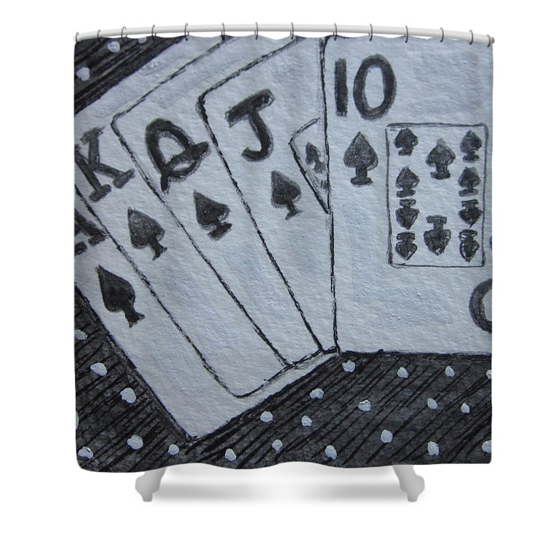Blackjack Shower Curtain featuring the painting Blackjack Hand by Kathy Marrs Chandler