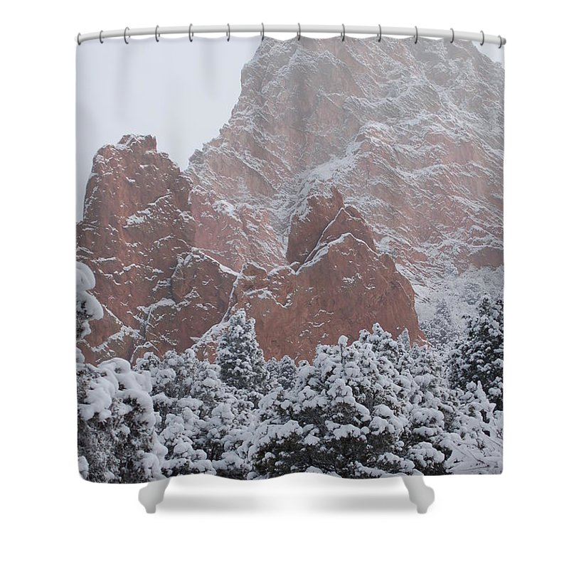 Blanketed Grandeur - Garden Of The Gods Shower Curtain featuring the photograph Blanketed Grandeur - Garden Of The Gods by Jennifer Forsyth