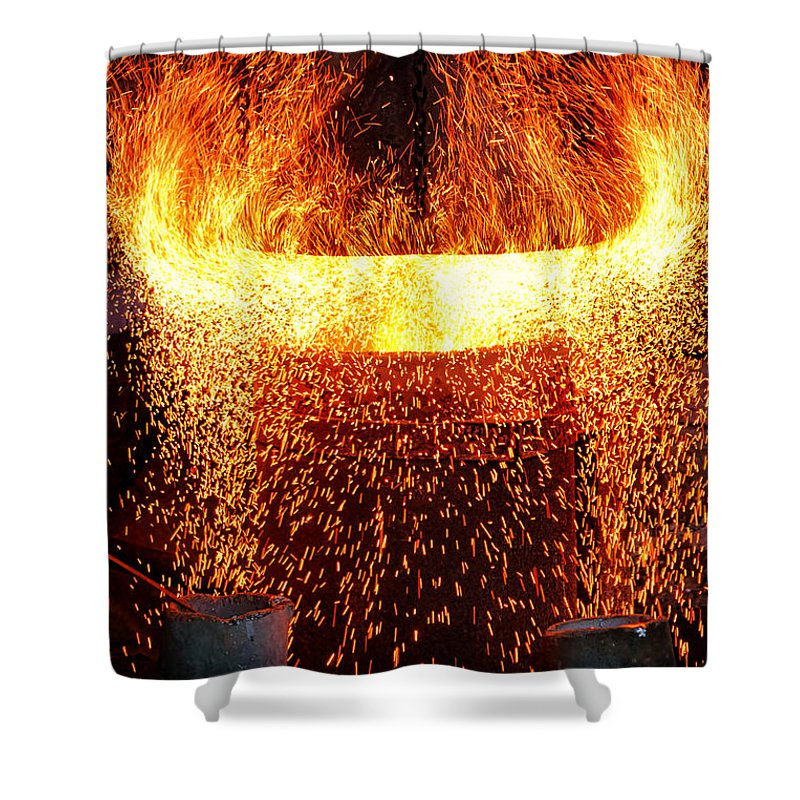 Fire Shower Curtain featuring the photograph Blast by Olivier Le Queinec