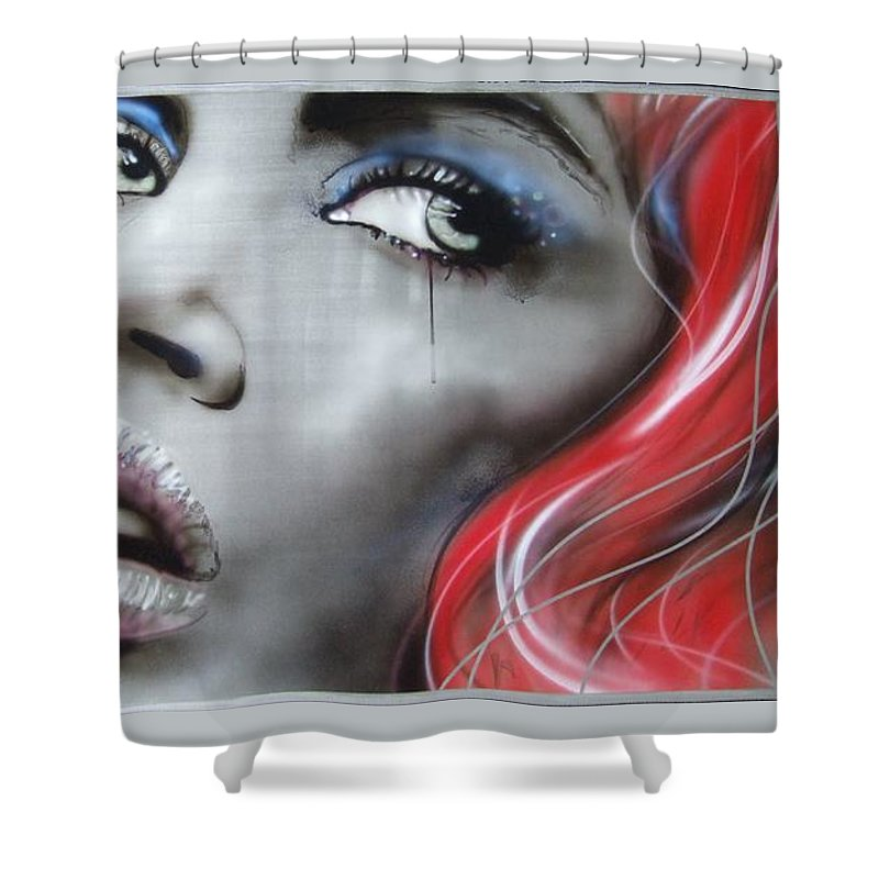 Portrait Shower Curtain featuring the painting Bleeding Rose by Christian Chapman Art