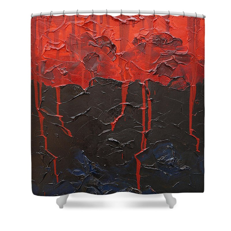 Fantasy Shower Curtain featuring the painting Bleeding Sky by Sergey Bezhinets