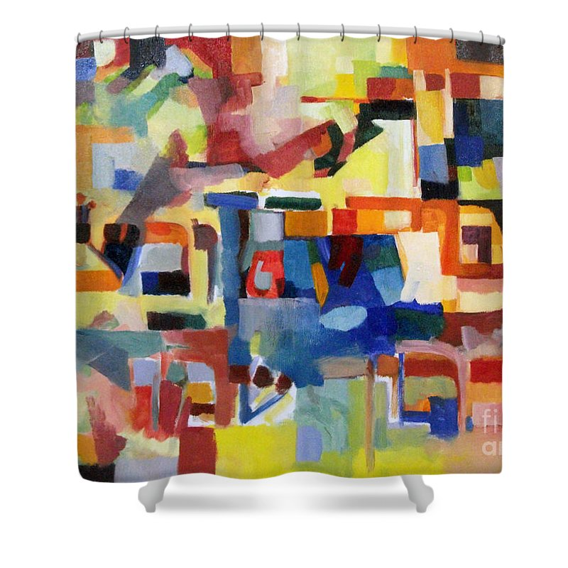 Creativity Shower Curtain featuring the painting Blessed Is He Who Redeems And Rescues 1 by David Baruch Wolk