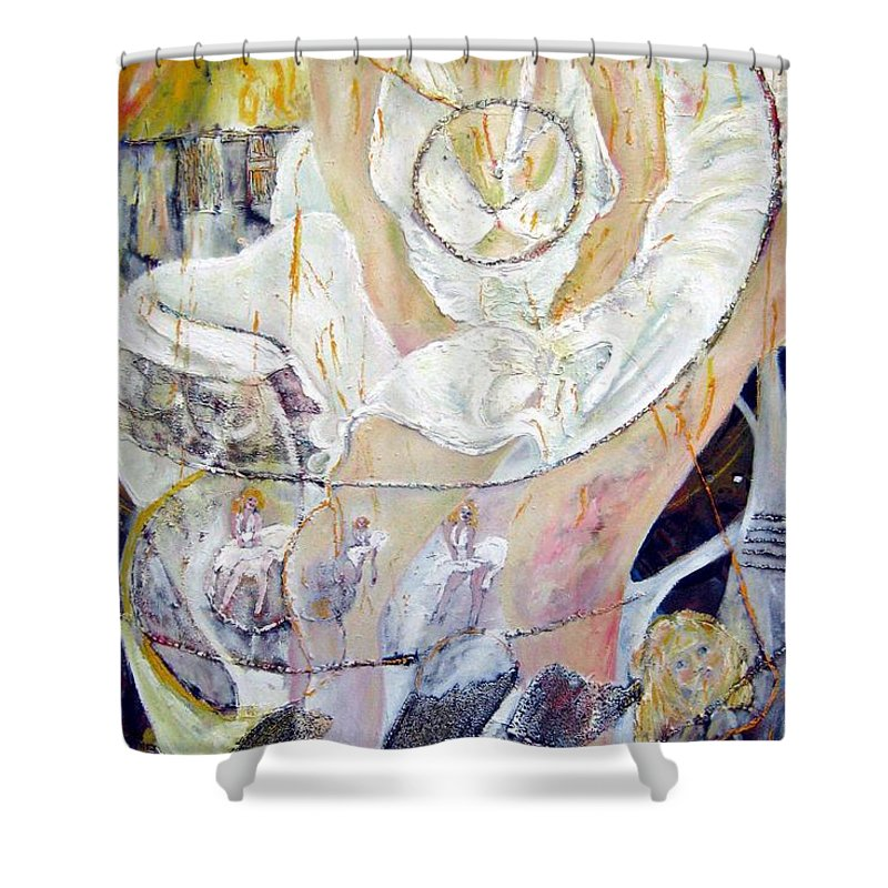Figurative Shower Curtain featuring the painting Blondie  by Peggy Blood