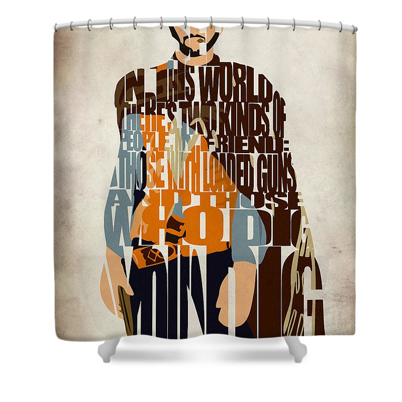 Blondie Shower Curtain featuring the digital art Blondie Poster From The Good The Bad And The Ugly by Inspirowl Design