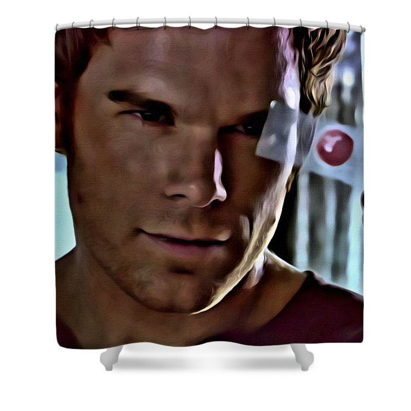 Dexter Shower Curtain Featuring The Painting Blood Slide By Florian Rodarte