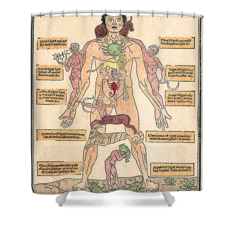 1493 Shower Curtain featuring the photograph Bloodletting Chart, 1493 by Granger
