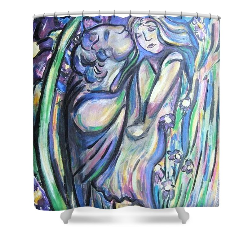 Female Shower Curtain featuring the painting Bloomed by Dawn Fisher