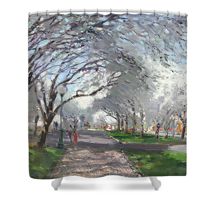 Blooming Trees Shower Curtain featuring the painting Blooming In Niagara Park by Ylli Haruni