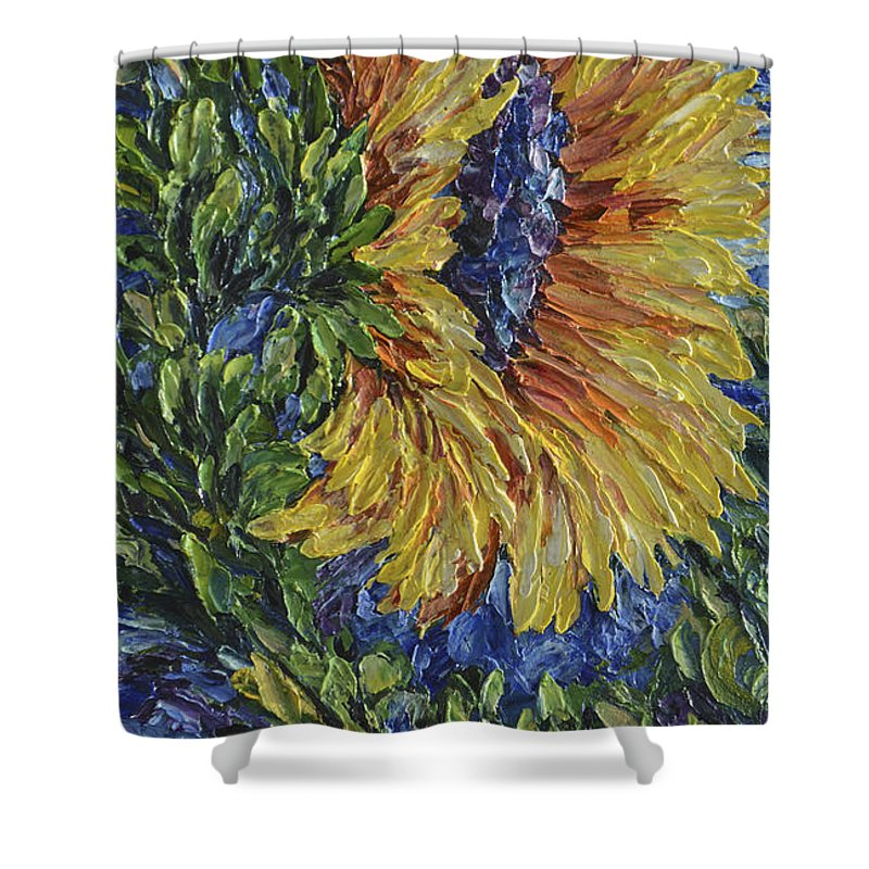 Art Shower Curtain featuring the painting Blooming Sunflower by OLena Art Brand