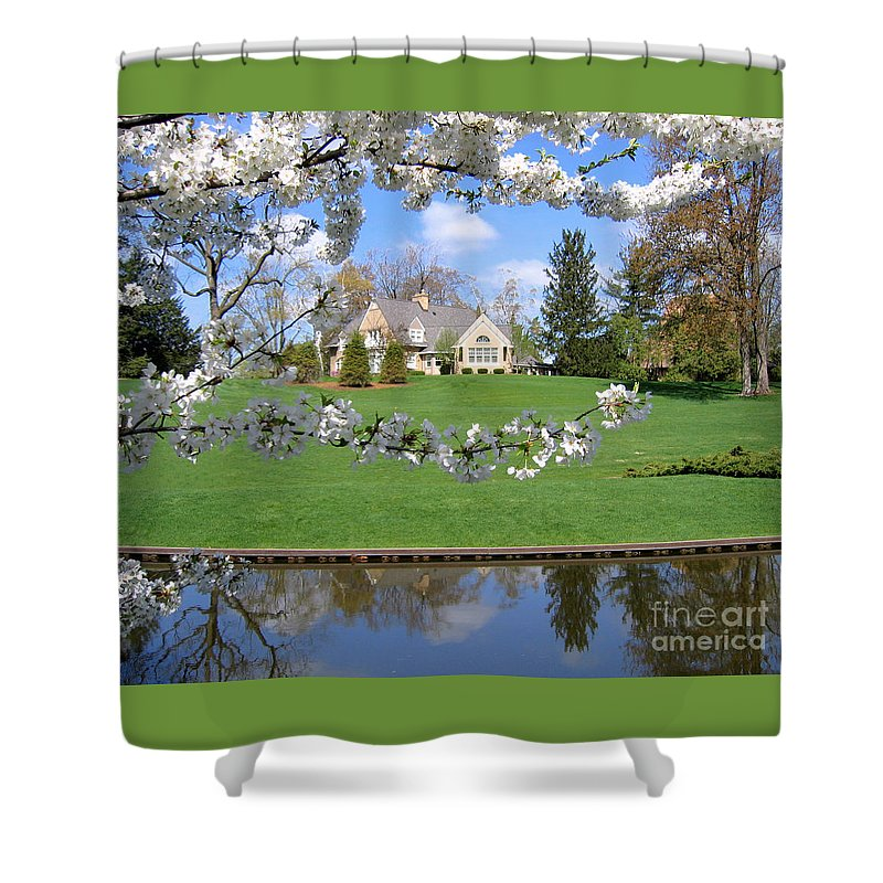 Spring Shower Curtain featuring the photograph Blossom-framed House by Ann Horn