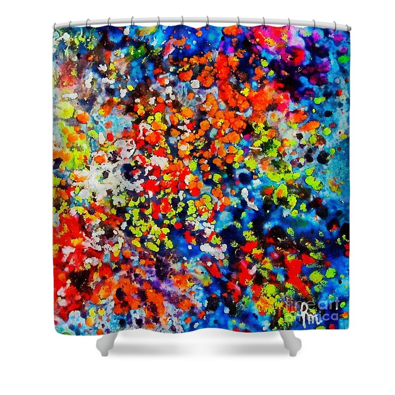 Flowers Shower Curtain featuring the painting Blossoming Meadow by Dragica Micki Fortuna