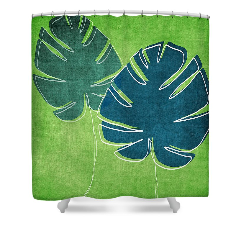 Palm Tree Shower Curtain featuring the painting Blue And Green Palm Leaves by Linda Woods