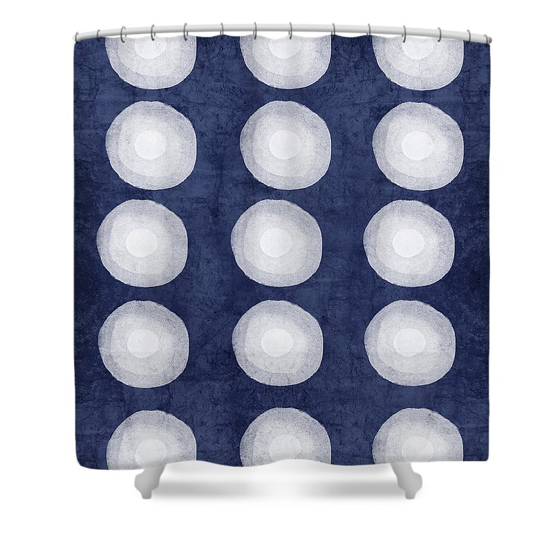 Blue Shower Curtain featuring the painting Blue and White Shibori Balls by Linda Woods
