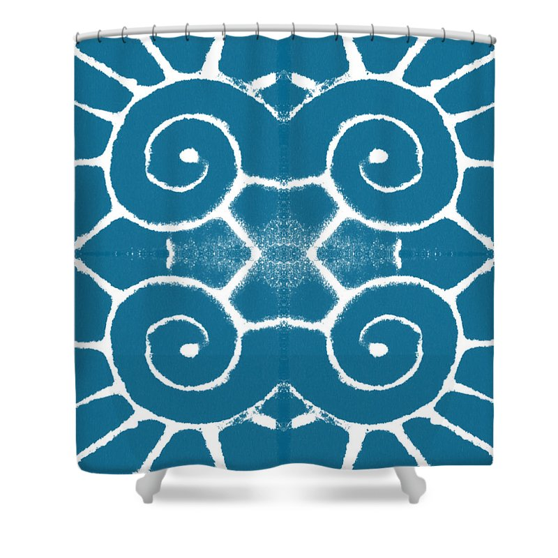 Wave Shower Curtain featuring the painting Blue And White Wave Tile- Abstract Art by Linda Woods