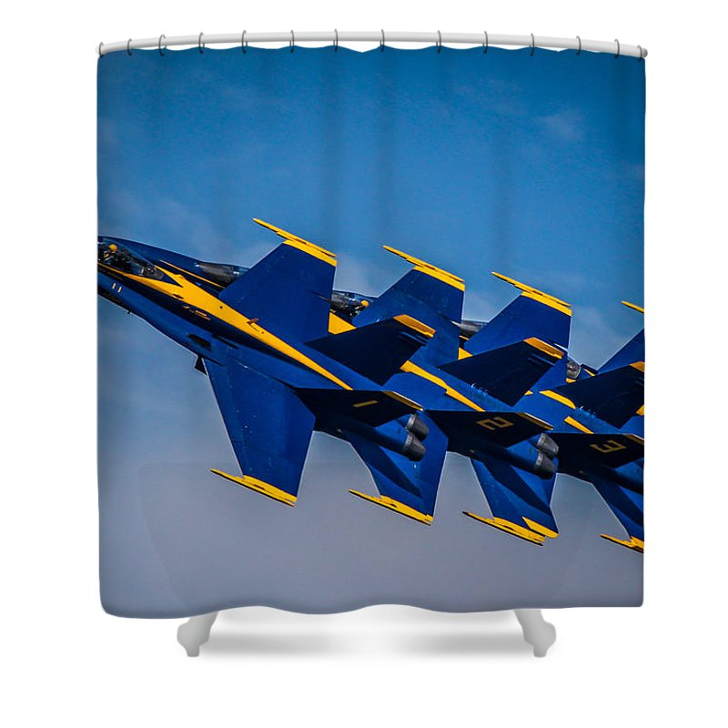 Blue Angels Shower Curtain featuring the photograph Blue Angels Single File by Eleanor Abramson