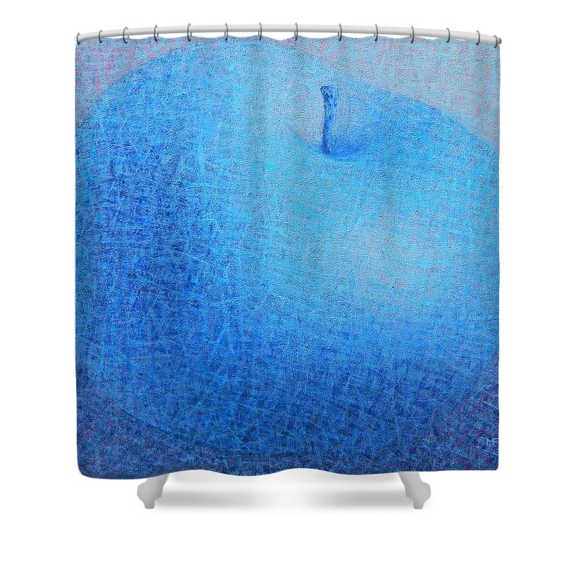 Blue Shower Curtain featuring the painting Blue Apple by Muntean Floare