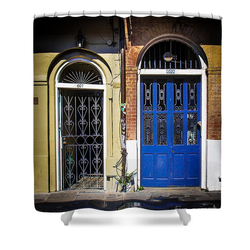 New Orleans Shower Curtain featuring the photograph Blue Arch Door by Perry Webster