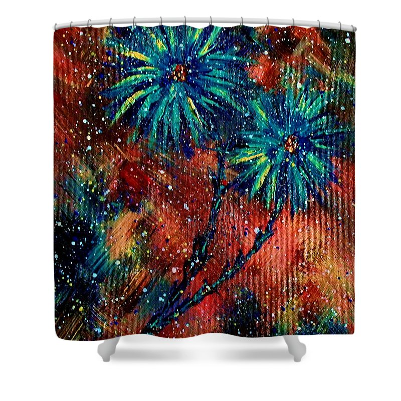 Flowers Shower Curtain featuring the painting Blue Asters by Robin Monroe