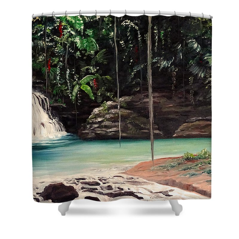 Tropical Waterfall Shower Curtain featuring the painting Blue Basin by Karin Dawn Kelshall- Best
