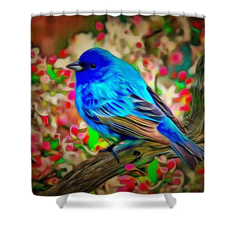 Blue Bird Shower Curtain featuring the digital art Blue Bird by Catherine Lott