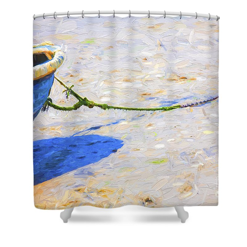 Abstract Shower Curtain featuring the photograph Blue boat on mudflat by Sheila Smart Fine Art Photography