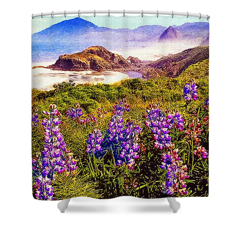 Blue Shower Curtain featuring the photograph Blue Bonnets On Oregon Coastline by Bob and Nadine Johnston