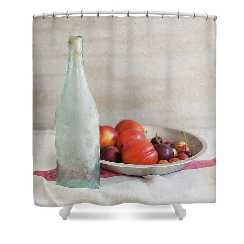 Blue Bottle Shower Curtain featuring the photograph Blue Bottle And Fresh Fruit by Rich Franco