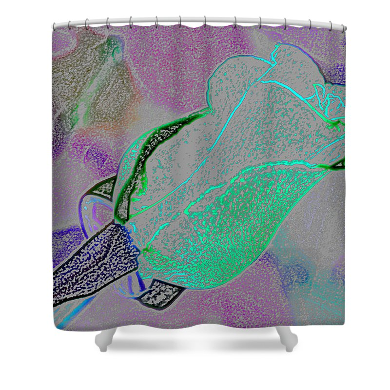 Augusta Stylianou Shower Curtain featuring the digital art Blue Bud by Augusta Stylianou