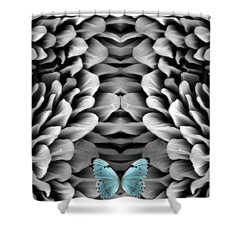 Microscope Shower Curtain featuring the photograph Blue Butterfly And Antenna by Sheri Neva