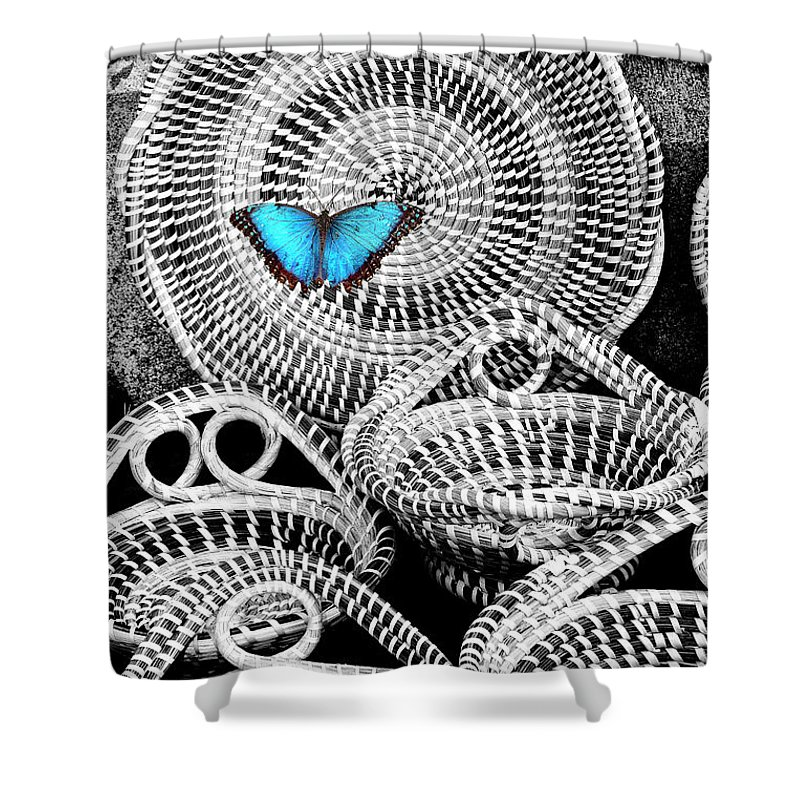 Charleston Shower Curtain featuring the photograph Blue Butterfly Charleston by William Dey