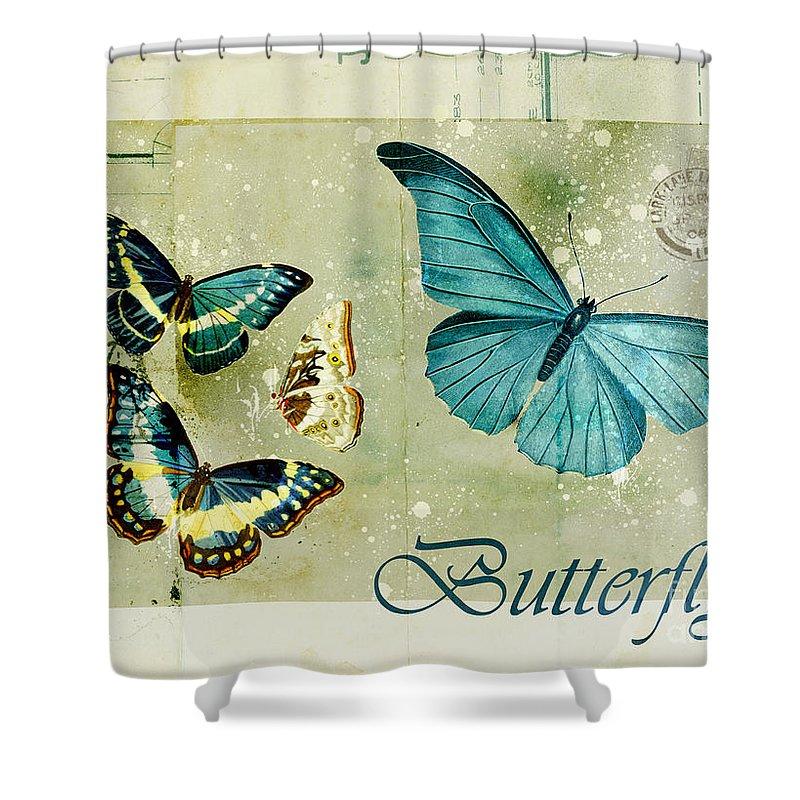 Butterfly Shower Curtain Featuring The Digital Art Blue