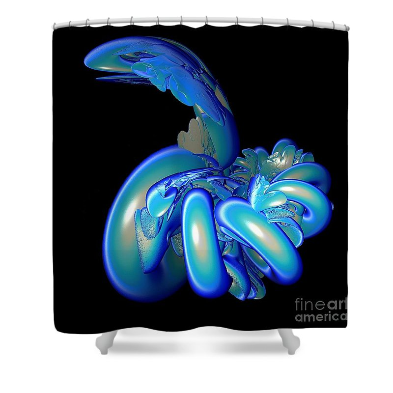 Snake Shower Curtain featuring the digital art Blue Charmer by Sara Raber