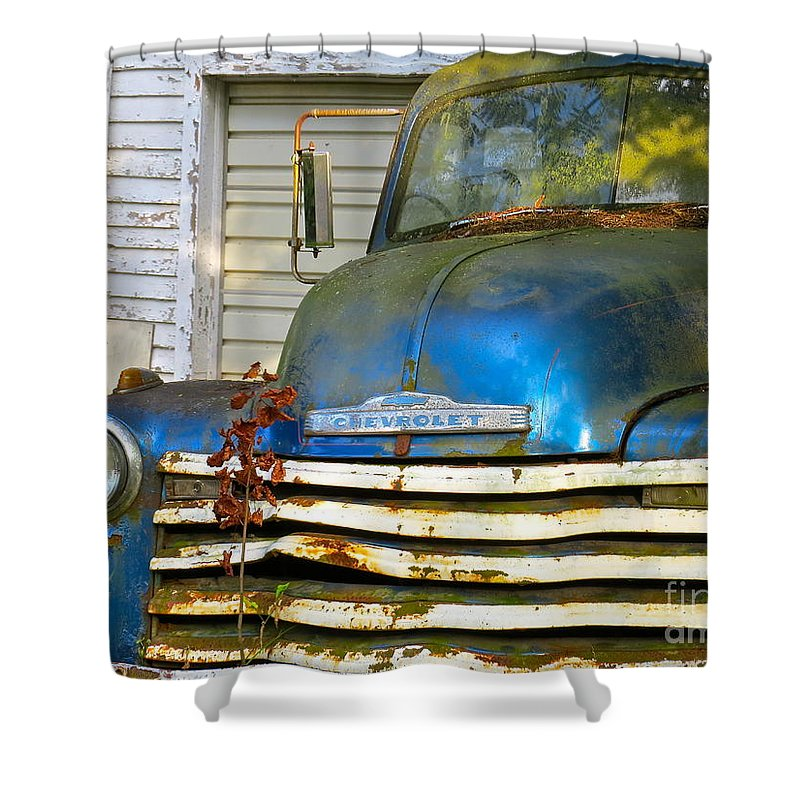 Blue Pick Up Truck Shower Curtain featuring the photograph Blue Chevy  by Nancy Patterson